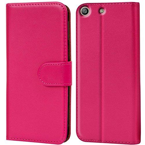 Verco Xperia M5 Hülle, Handyhülle für Sony Xperia M5 Tasche PU Leder Flip Hülle Brieftasche - Pink