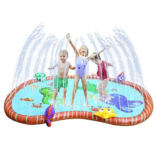 Ulikey Splash Pad Tapete de Agua, Alfombra de Agua Almohadilla Aspersor de Juego, Jardín de Verano Juguete Acuático, Juego de Agua para Piscina Jardín Playa (Azul-a)