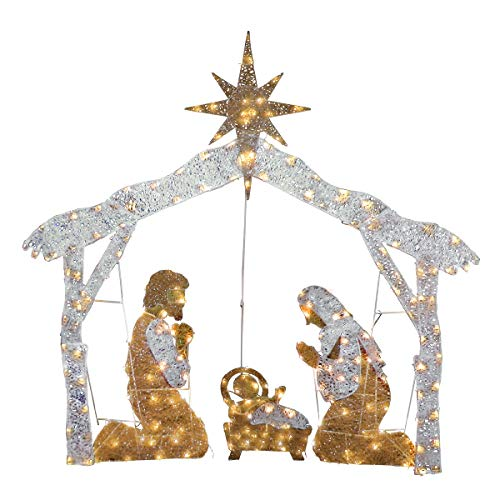 National Tree Company lit Artificial Christmas Décor White Includes Pre-Strung Mini LED Lights and Ground Stakes-Crystal Holy Family Nativity-4.5 ft