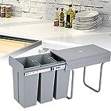 OUKANING Contenitore per rifiuti da 10 Litri Incorporato Pattumiera da Cucina Separazione rifiuti Pattumiera Durevole 48X26 X42cm Grigio