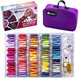 Toriify Friendship Bracelet String, Premium Embroidery Floss with 100 Vibrant Colors Corresponding to DMC Yarn Color Chart,Durable Cross Stitch Thread Kit with Storage Box & an Elegant Carrying Bag