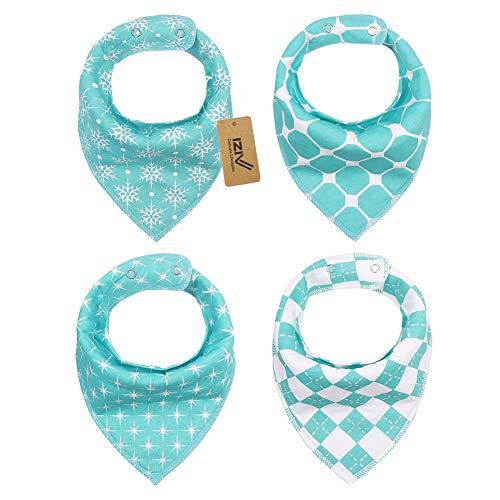 iZiv Baberos del Bebé Patrón Navidad - Paquete de 4 Diseños Pañuelo con Snaps Ajustables, TPU Impermeable Guarnición para niño 0-2 años