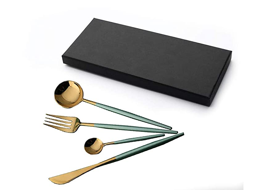 4pc. 18/10 Stainless Steel Gold Flatware with Emerald Green Handle Cutlery Set w Gift Box - Tablespoon, Teaspoon, Fork, Knife