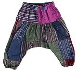 Shopoholic Moda Infantil Hippie Harén Holgado Boho Pantalón Hippy Coloridos Infantil Retro Cómodo Pantalón - MIX Parche, X-Large