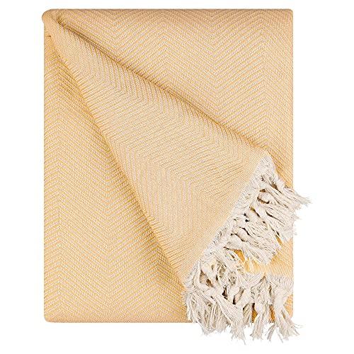 BOHORIA® Premium Tagesdecke Tulum | 100prozent Baumwolle | Oeko-Tex® | Bettüberwurf Wohndecke Wendedecke Sofadecke mit Muster | extra-groß 170 x 230 cm (Tuscan Sun)
