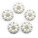 Faux Pearl Flower Buttons Embellishments for Craft Buttons Pack of 10 -