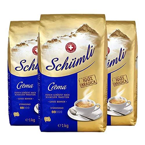 Schümli Crema Ganze Kaffeebohnen 1kg, 3er Pack (3 x 1000 g)