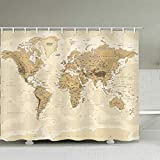 WERTY Weltkarte Muster Badvorhang wasserdichte Duschvorhänge Weltkarte Retro Classic Bath Screen Gedruckt Vorhang für Badezimmer Geschenk-A003-yl087_w150xh180cm