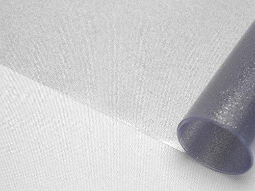 BEAUTEX Transparente Folie mit Glitzer Effekt Silber, Glitter Metallic Tischdecke transparent, eckig Größe wählbar (260 x 140 cm)