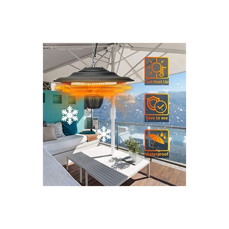Outdoor Patio Heater, 2000W Hanging Electric Heater, 2 Adjustable Power Level Garden Electric Patio Heater for Balcony…