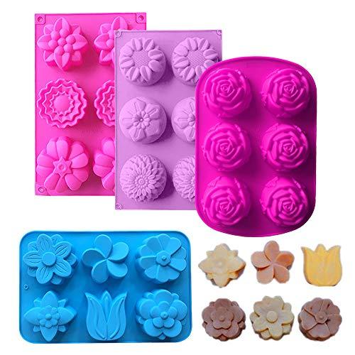 Anyasen stampi per saponette 4 Pezzi Stampo in Silicone per Sapone stampi per Dolci con formine a Forma di Fiore, Stampo in Silicone per Fai da Te Artigianale Fatto Sapone Muffin (Colore Casuale)