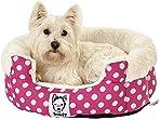 Bunty 40 Deep Dream Dot Soft Fur Fleece Dog Bed Washable Pet Basket Mat Cushion - Pink - Medium