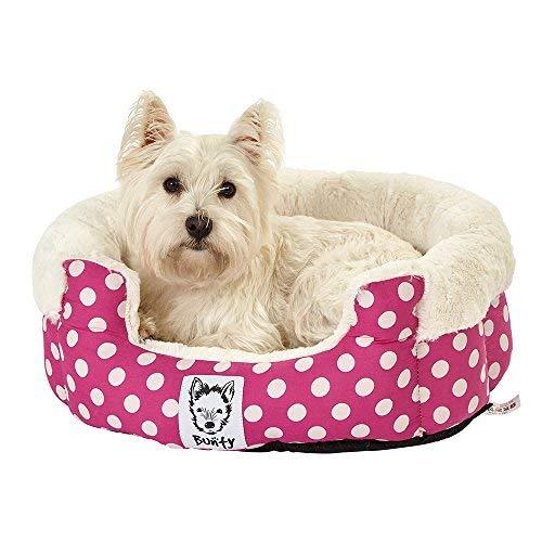 Bunty 40 Deep Dream - Cama para Perro (Forro Polar, Lavable, tamaño Mediano), diseño de Lunares, Color Rosa