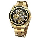 Dilwe Männliche Uhr, 4 Farben Moderne Hohle Entwurf automatische mechanische Anzeigen Armbanduhr mit justierbarem Edelstahl Uhrenband(Schwarz + Gold)