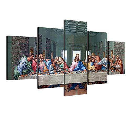 CXDM Wandbilder Leonardo Da Vinci Das letzte Abendmahl Jesus Apostel Abendmahl Drucke auf Leinwand 5 Panels Moderne Giclee-Grafik Für Home Office-Dekorationen,A,30x40x2+30x60x2+30x80x1