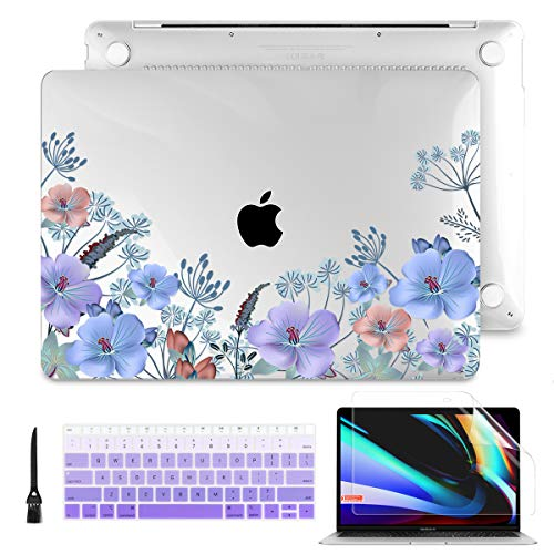 Batianda Laptop Case for MacBook Air 13 2020 2019 2018 Release (A2337 M1/A2179 A1932 Model) with Touch ID PC Hard Shell Case with Keyboard Cover & Screen Protector, Purple Flower