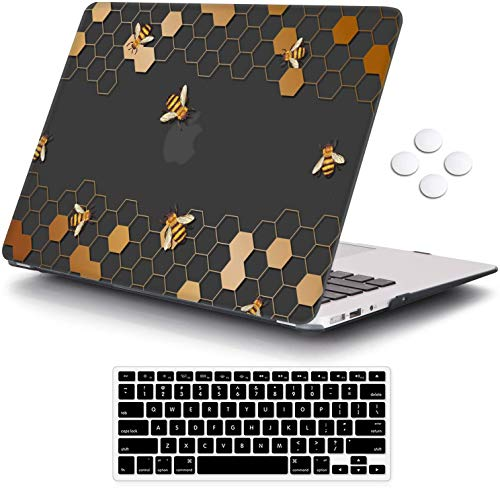 MacBook Pro 15 Case 2018 2017 2016 Release A1990/A1707,iCasso Rubber Coated Cover with Keyboard Cover Compatible Apple MacBook Pro 15' with Touch Bar and Touch ID (Honeycomb)
