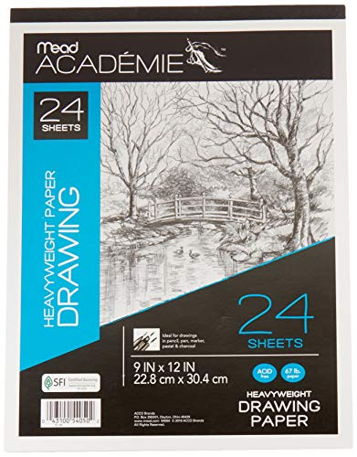 Mead Académie Drawing Pad, 24 Sheets, 9 x 12 Inch Sheet Size (54050)