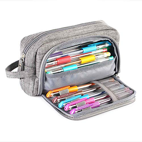 Big Capacity Colored Canvas Storage Pouch Marker Pen Pencil Case Simple Stationery Bag Holder for Middle High School Office College Student Girl Women Adult Teen Adult Simple Large Storage (Gray)