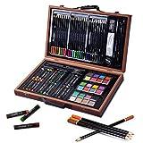 GOPLUS 80 Stück Bleistift Zeichnen Set Künstler-Set Professionelle Art Set Hochwertiger Malkoffer aus Holz, braun