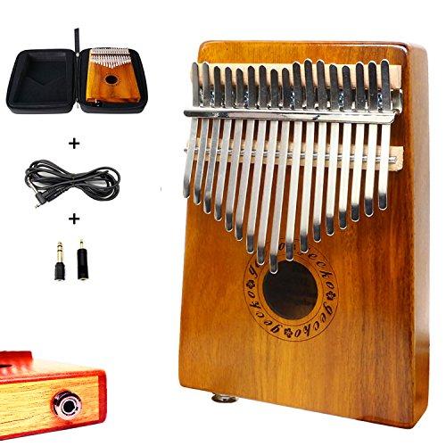 Kalimba 17 lames avec EQ Gecko - Bois koa acoustique - Piano à pouce électrique - Micro intégré avec interface audio 6,35mm - Avec étui pour Kalimba