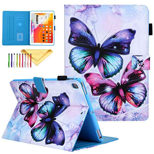Uliking iPad 10.2 Inch Case 2019 7th Gen, Pro 10.5 Inch 2017 / Air 3 2019 Case Kids, Multi-Kickstand Smart Wake Sleep Cover Pen Holder Wallet Case for iPad 10.2,iPad Air 3,iPad Pro 10.5, Butterfly