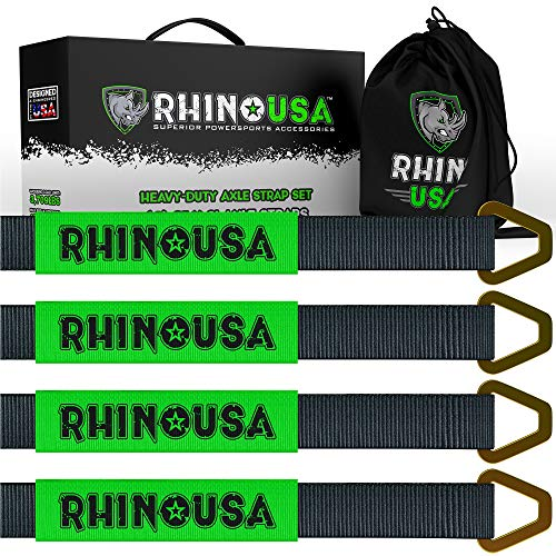 "Rhino USA Axle Tie Down Straps (4-Pack) 2"" x 38"" - Lab Tested 11,128lb. Break Strength - Heavy Duty Protective Sleeves & D Rings to Ensure Peace of Mind - Used for Car, Truck, Trailer, UTV & More!"