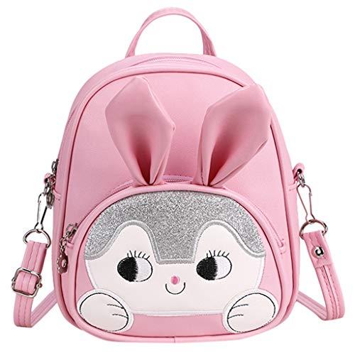 TTLOVE Neue Cartoon Walking Sicherheitsgeschirr Baby Kind Rucksack Niedlichen Tasche Hase Schultasche FüR Jungen Und MäDchen Im Kindergarten(Rosa,17x7x21 cm)