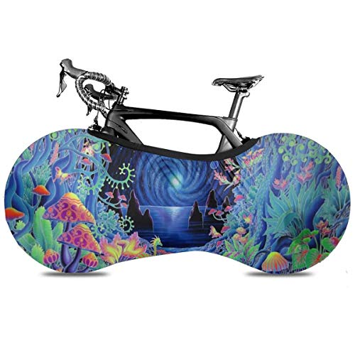 Whale Art Cubierta de Bicicleta Portátil Interior Anti Polvo Alta Elástica Cubierta De Rueda De Bicicleta De Protección Rip Stop Neumático Carretera Mtb Bolsa De Almacenamiento, Arte Trippy psicodélico, talla única