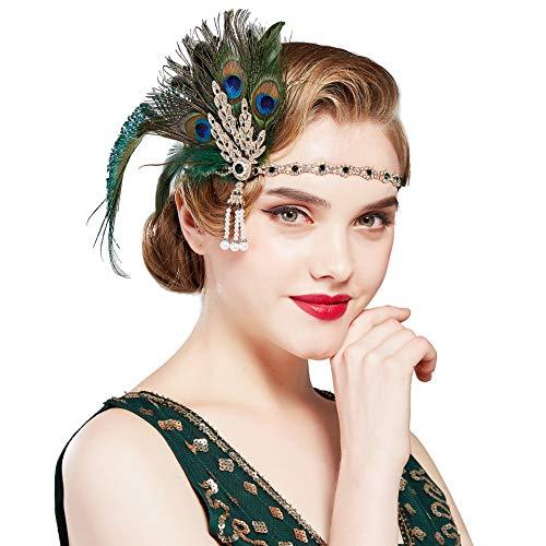 Coucoland 1920s Stirnband mit Feder Strass Blatt Muster Damen 20er Jahre Stil Flapper Charleston Haarband Great Gatsby Damen Fasching Kostüm Accessoires (Pfau Grün)
