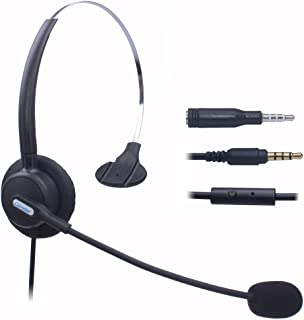 Comdio Corded Mobile Phone Headset with Flexible Noise Canceling Mic Headband for iPhone Samsung LG HTC BlackBerry ZTE Cell Phone & Most Android Phones with 3.5mm Headphone Jack (H103-35M2)