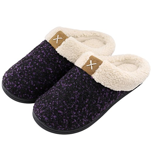 ULTRAIDEAS Women's Cozy Memory Foam Slippers Fuzzy Wool-Like Plush Fleece Lined House Shoes w/Indoor, Outdoor Anti-Skid Rubber Sole (7-8, Purple)