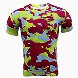 Cxypeng Short Sleeves Compression T-Shirt Tee,Costume de Sport d'entraînement de Camouflage de Sport Masculin, Manches Courtes Stretch à séchage Rapide-Red_S,Maillot Compression Homme T-Shirt