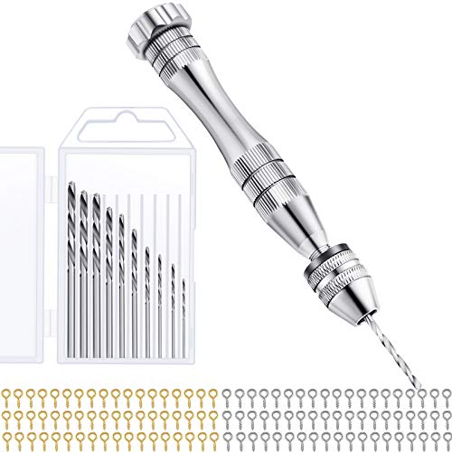 Resin Drill Pin Vise Drill Set, Include Hand Drill, 10 Pieces Mini Twist Drill Bits and 200 Pieces Screw Eye Pins for Resin Plastic Wood Polymer Clay, DIY Jewelry Keychain Pendant Making (Silver)