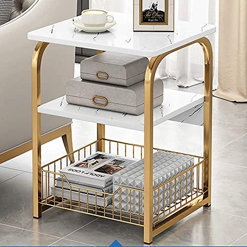 Muebles Modernos Mesa de Centro Mesa Auxiliar Mesa de Centro Rectangular Mesa Auxiliar de 3 estantes Mesita de Noche pequeña Patas de Metal Mesa de sofá Mesa de té de Hierro, 40CM30CM62CM Mesa auxili