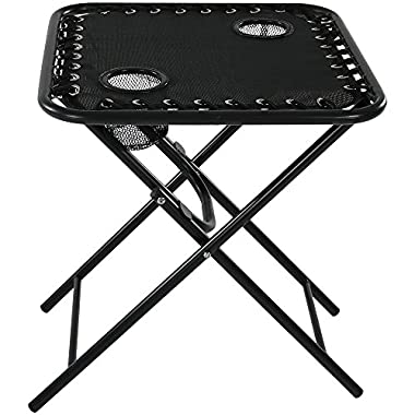 Sunnydaze Outdoor Folding Sling Side Table with Mesh Cup Holders, Black