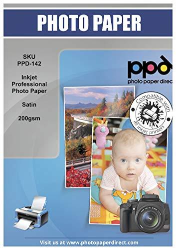 PPD Inkjet - A4 x 50 Hojas de Papel Fotográfico Premium Satinado - Gramaje de 200 g/m² y Secado Instantáneo - Calidad...