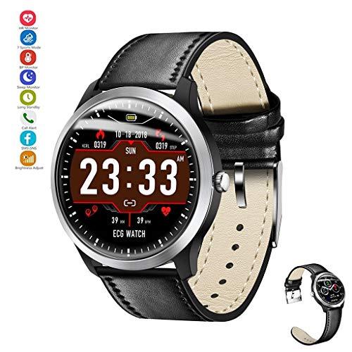 YASF-Uhr verbunden mit EKG + PPG-Überwacher, HRV-Testbericht von der Herzfrequenz des Blutdrucks, IP67 wasserdicht, Smartwatch für Android iPhone (Farbe: Schwarz (Gürtel))