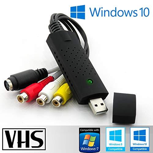 Tech Stor3 USB 2.0 Audio Video Grabber nuova versione 2021, compatibile con Windows 10 - Converte in formato digitale le Videocassette - Scheda di acquisizione Video USB
