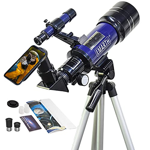 Emarth Telescope, 70mm/360mm Double Eyepieces Refractor Telescope with Tripod & Finderscope, Portable Telescope for Kids Beginners Adults Astronomy, Blue