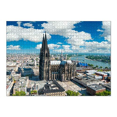 artboxONE Ravensburger-Puzzle XL (1000 Teile) Städte / Köln Kölner Dom Bird's Eye View - Puzzle Stadt Köln Dom