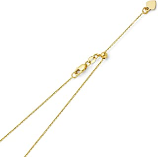 14k REAL Yellow OR White Gold Solid 1mm Cable Link Length Adjustable Chain Necklace with Lobster Claw Clasp