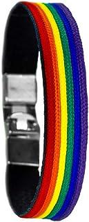 Pulsera Orgullo Gay Lesbiana LGTB Pride de Cuero con Colores del Arco Iris Cómoda y Estilosa Combina con Todo