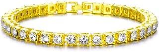 Men Women Iced Out Hip Hop Bling 14k Gold Diamond Bracelets 8.5