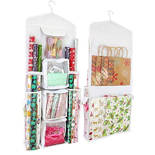 SumDirect White 16x40 Inch Double Sided Hanging Gift Wrap Organizer, Wrapping Paper Gift Bag Storage