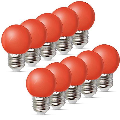 10per-pack Farbige Leuchtmittel LED 1W E27 G45 Birne Beleuchtung Glühbirne Leuchtmittel für Partybeleu chtung Biergartenbeleu chtung (Rot)
