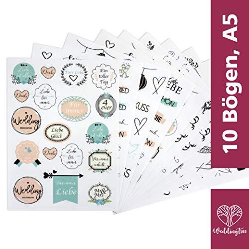 WeddingTree 10 Hojas A5 con pegatinas para boda Libro de invitados - 199 Stickers para álbum de fotos de boda - Ideal para Tarjetas Regalos Scrapbooks DIY