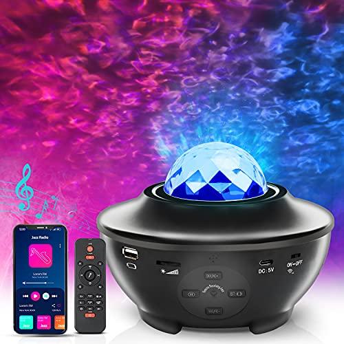 Proyector de Estrellas, Besvic Proyector Galaxia con Altavoz Bluetooth y Control Remoto & Temporizador, 10 Colores, 3 Niveles de Brillo, Proyector Estrellas Techo Adultos