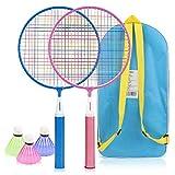 Powcan Badminton Set pour Les Enfants Lightweight Badminton kit pour Enfants Badminton Jouets avec 2 Raquettes de Badminton et 3 Volants