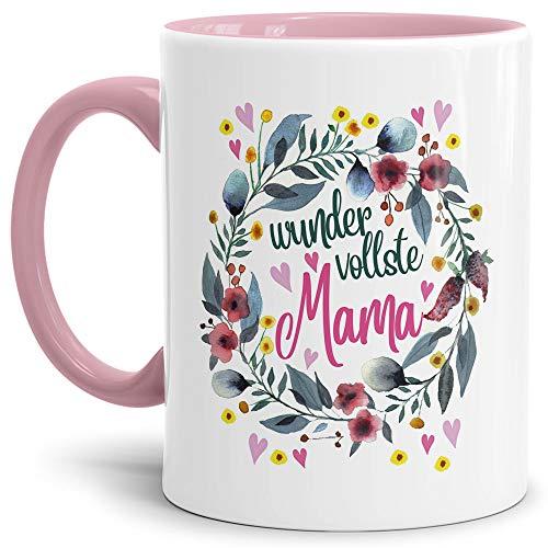 Tasse mit Spruch für Mama - Wundervollste Mama - Kaffee-Tasse/Geschenk-Idee Muttertag Geburtstag/Muttertagsgeschenk/Für Meine Mutter - Innen & Henkel Rosa